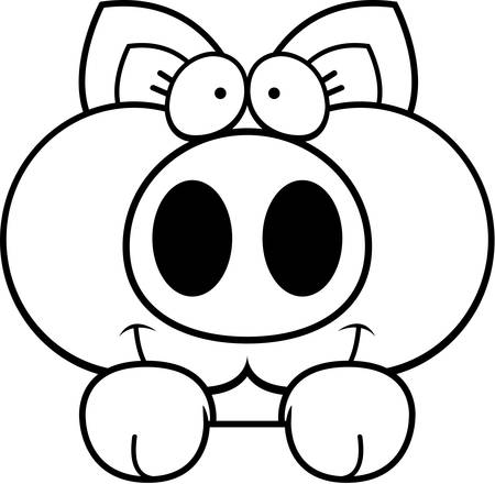 A cartoon illustration of a little pig peeking over an object.