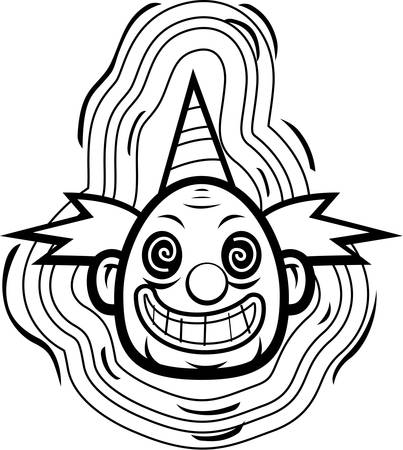 A cartoon evil looking clown smiling.