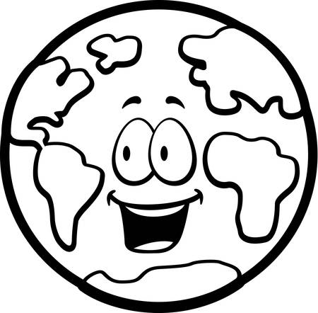 A cartoon planet Earth smiling and happy. Çizim