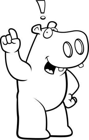 eureka: A happy cartoon hippo with an idea. Illustration