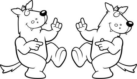 Een gelukkig cartoon wolf dansen en lachen. Stock Illustratie