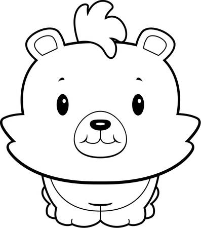 bear cub: A cartoon baby bear cub smiling and happy. Illustration