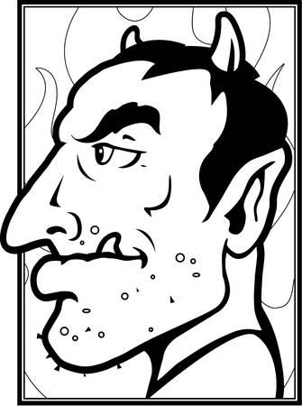 bocinas: Un diablo rojo de la historieta con los cuernos.