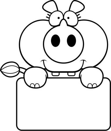 흰색 사인와 작은 코뿔소의 만화 그림.
