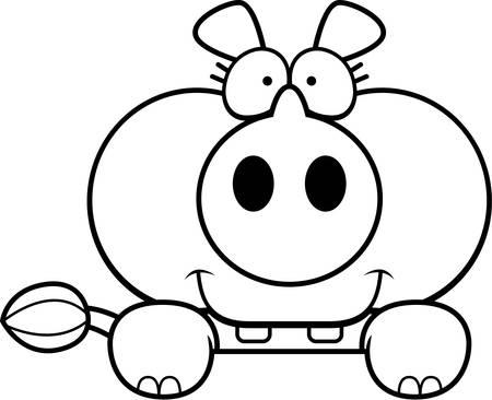 peering: A cartoon illustration of a little rhinoceros peeking over an object.