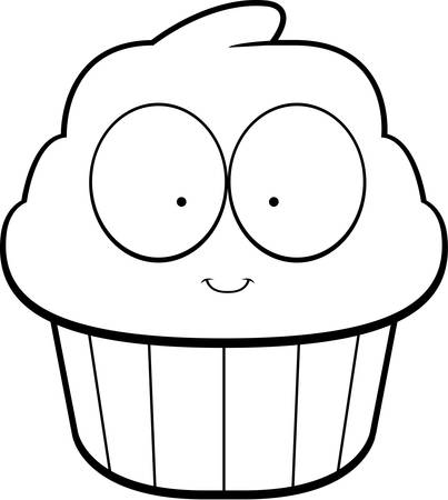 A cartoon illustration of a cupcake smiling and happy.