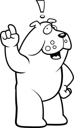 exclaim: A happy cartoon bulldog with an idea.