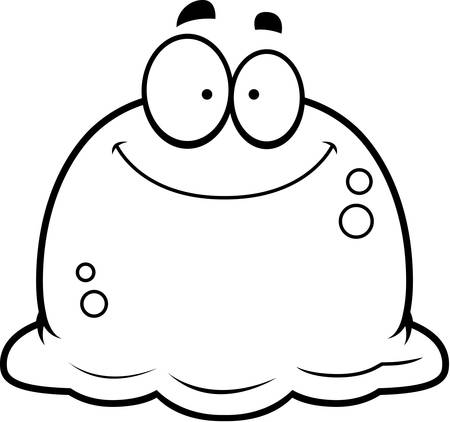 A cartoon illustration of a booger smiling.