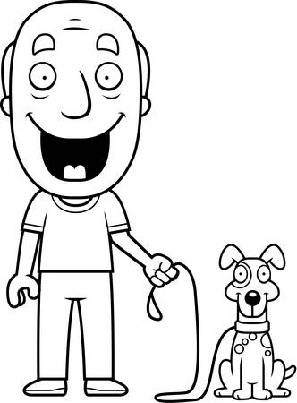 dog walking: A happy cartoon man walking the dog.