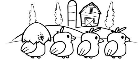 chicks: A group of cartoon baby chicks on a farm walking.