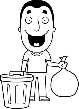 A happy cartoon man taking out the trash. Illustration