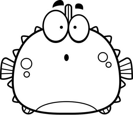 pez globo: Una ilustraci�n de dibujos animados de un pez globo que parece sorprendido.
