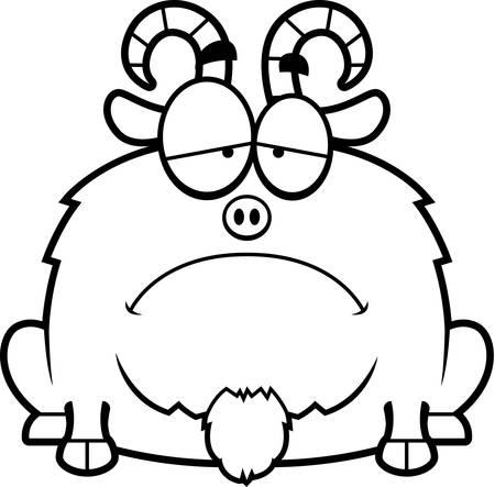 billy: A cartoon illustration of a little goat looking sad. Illustration