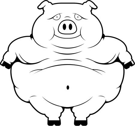 A happy cartoon fat pig standing and smiling.