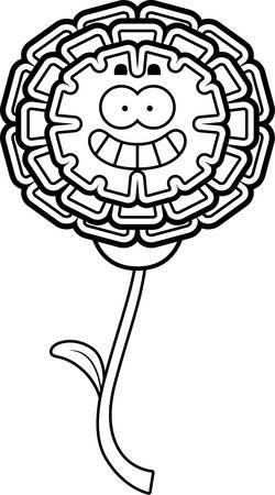 A cartoon illustration of a marigold looking happy.