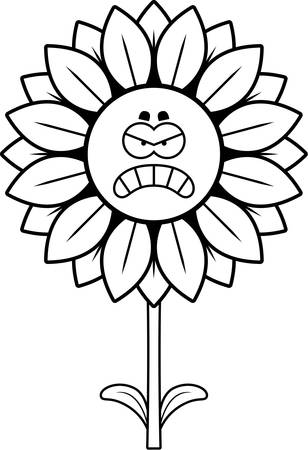 A cartoon illustration of a sunflower looking angry.
