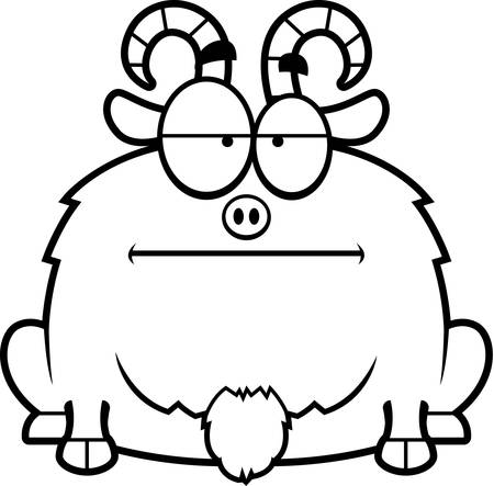 billy: A cartoon illustration of a little goat looking calm.