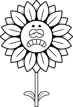 A cartoon illustration of a sunflower looking sad. Çizim