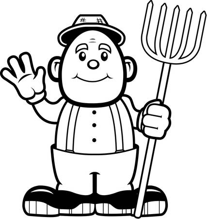 A happy cartoon farmer waving and smiling. Illustration