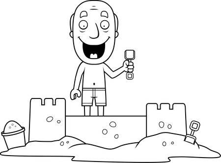 sandcastle: A cartoon illustration of a man building a sandcastle.