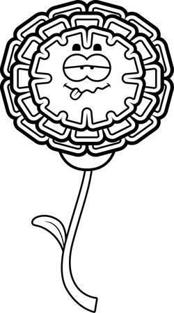marigold: A cartoon illustration of a marigold looking sick.