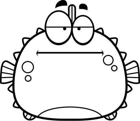 spines: A cartoon illustration of a blowfish looking bored.
