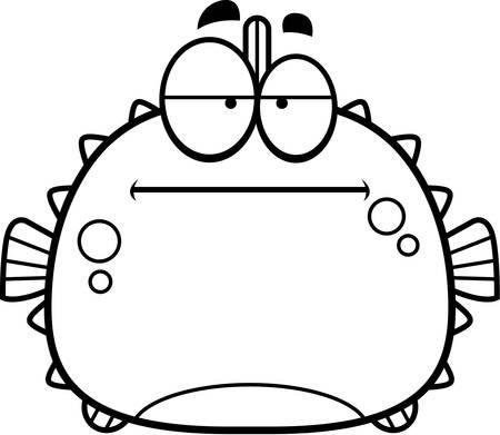 pez globo: Una ilustraci�n de dibujos animados de un pez globo que parece aburrida.