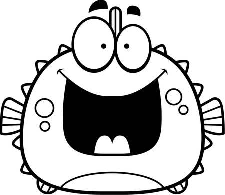 blowfish: A cartoon illustration of a blowfish looking happy.