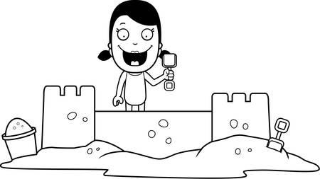 sandcastle: A cartoon illustration of a girl building a sandcastle.
