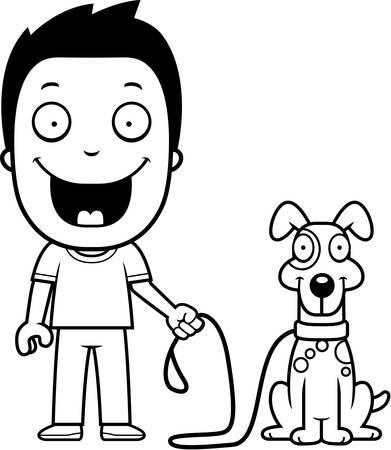 dog walking: A happy cartoon boy walking the dog.
