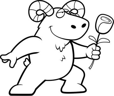 rams horns: A happy cartoon ram with a flower.