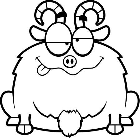 billy: A cartoon illustration of a little goat looking drunk.