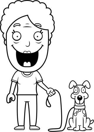 A happy cartoon woman walking the dog. Иллюстрация