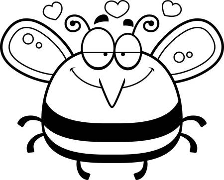 infatuated: A cartoon illustration of a bee in love.