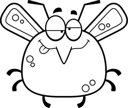 impaired: A cartoon illustration of a mosquito looking drunk.
