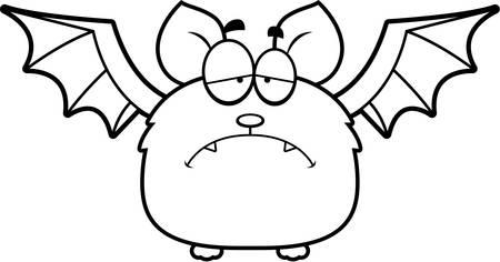 scowl: A cartoon illustration of a bat looking depressed. Illustration