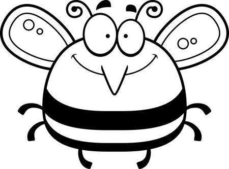smirking: A cartoon illustration of a bee smiling. Illustration
