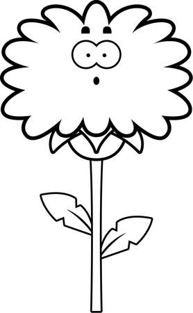 A cartoon illustration of a dandelion looking surprised.