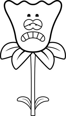 daffodil: A cartoon illustration of a daffodil looking sad.
