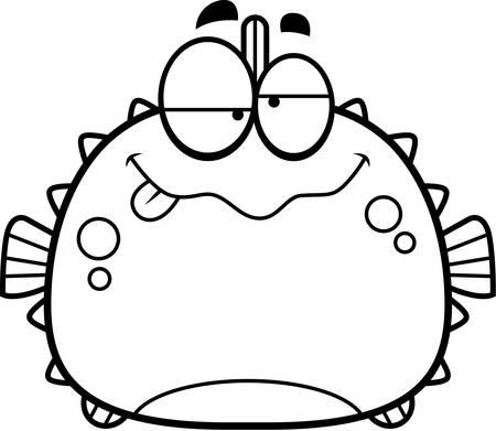 pez globo: Una ilustraci�n de dibujos animados de un pez globo buscando borracho. Vectores