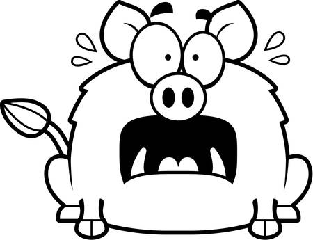 A cartoon illustration of a boar looking scared.