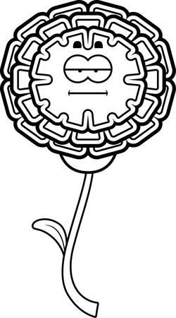 A cartoon illustration of a marigold looking calm. Иллюстрация