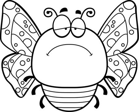 scowl: A cartoon illustration of a butterfly looking sad.