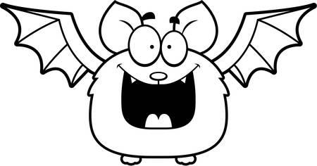 smirking: A cartoon illustration of a bat looking happy. Illustration
