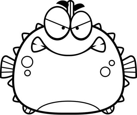 pez globo: Una ilustraci�n de dibujos animados de un pez globo que parece enojada.
