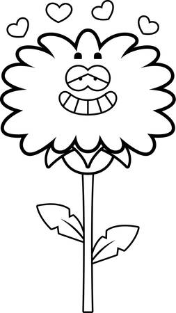 infatuated: A cartoon illustration of a dandelion with an in love expression.