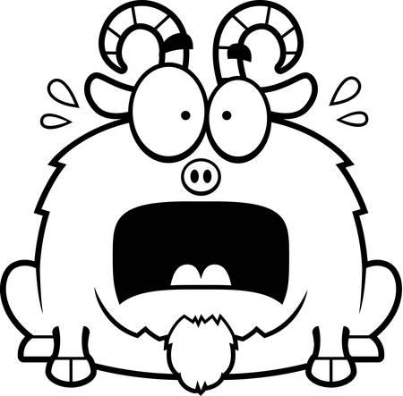 terrified: A cartoon illustration of a little goat looking terrified. Illustration