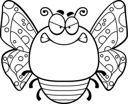 A cartoon illustration of a butterfly looking angry. Illustration