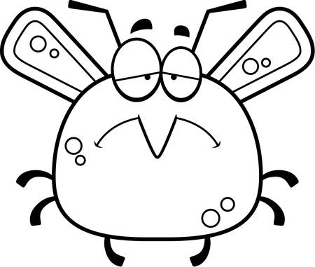 frowning: A cartoon illustration of a mosquito looking sad.