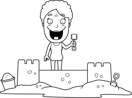 A cartoon illustration of a woman building a sandcastle. Stock Illustratie